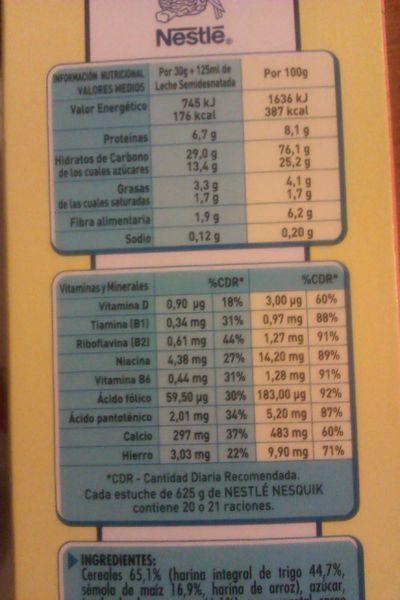 etiquetado cereales desayuno