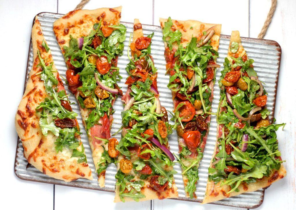 Porciones de pizza saludable